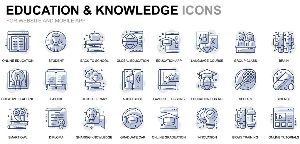 Online Education Line Icons vector