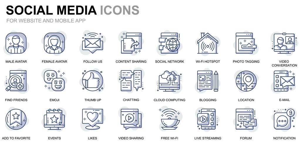 Social Media and Network Line Icons vector