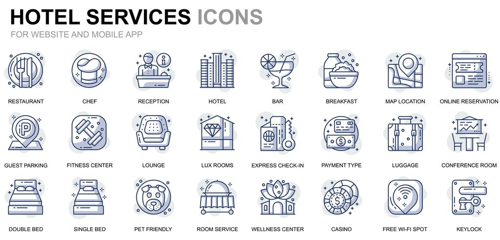 Hotel Service Line Icons vector