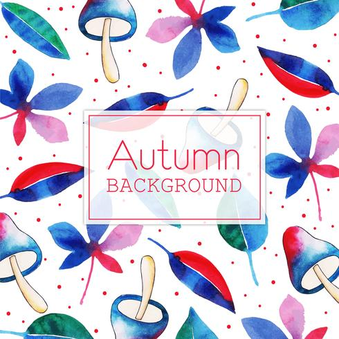 Blue and Red Mushroom and Leaf Beautiful Watercolor Autumn Leaves Background vector