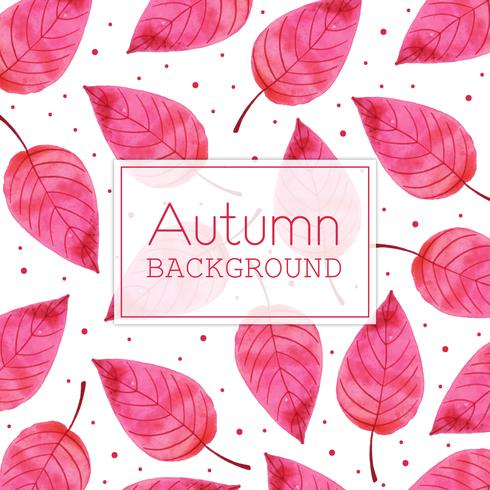 Pink Leaf Beautiful Watercolor Autumn Leaves Background vector