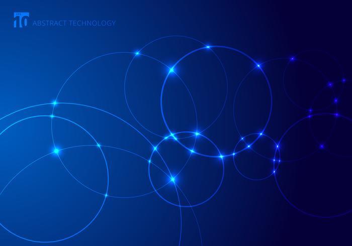 Círculos e pontos sobrepostos em fundo azul no estilo de tecnologia