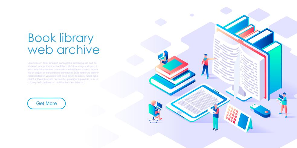 Concept isométrique de bibliothèque de livres pour bannière et site Web