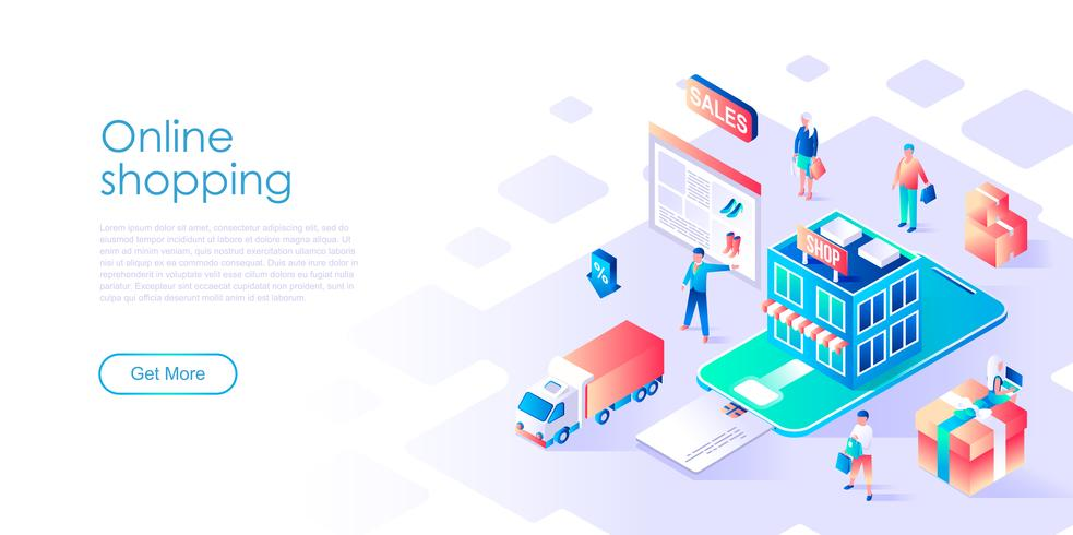 Isometric concept of Online Shopping for banner and website