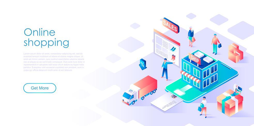 Isometrisk koncept av online-shopping för banner och webbplats