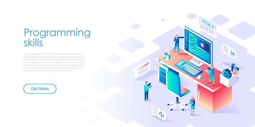 Isometric concept of Programming Skills for banner and website vector