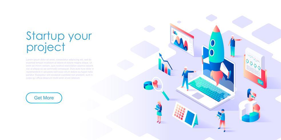 Isometrisches Konzept von Startup Your Project für Banner und Website