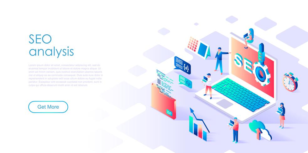 Isometric concept of SEO Analysis for banner and website vector