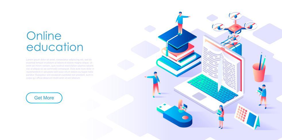 Isometrisch concept van online onderwijs voor banner en website