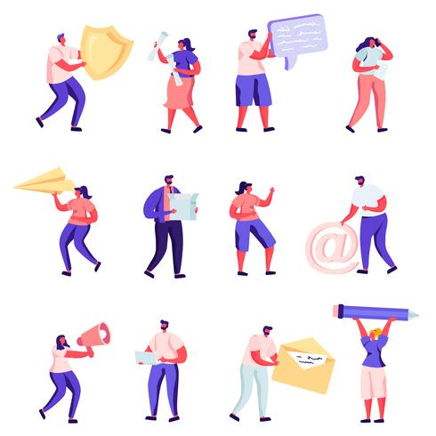Set of Flat PR, Social Media Networking and Other Service Characters vector