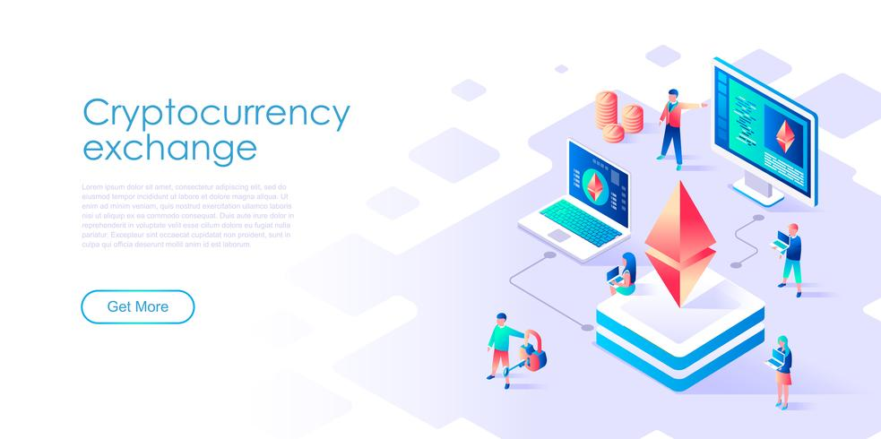 Concepto isométrico de intercambio de criptomonedas para banner y sitio web