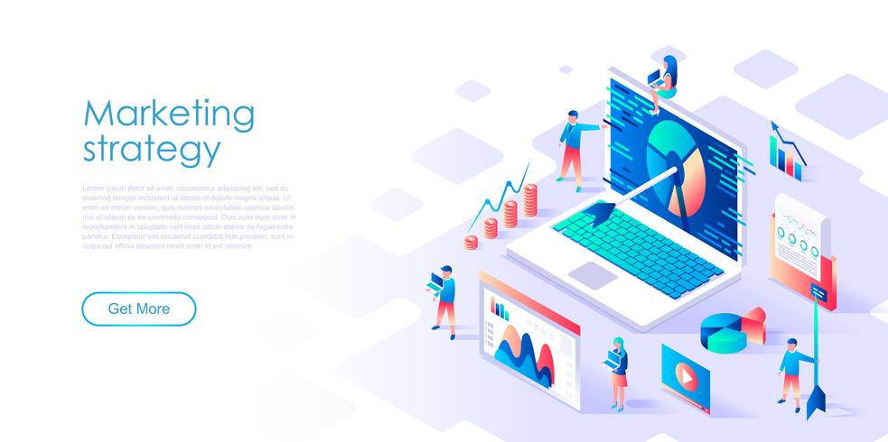Isometric concept of Marketing Strategy for banner and website