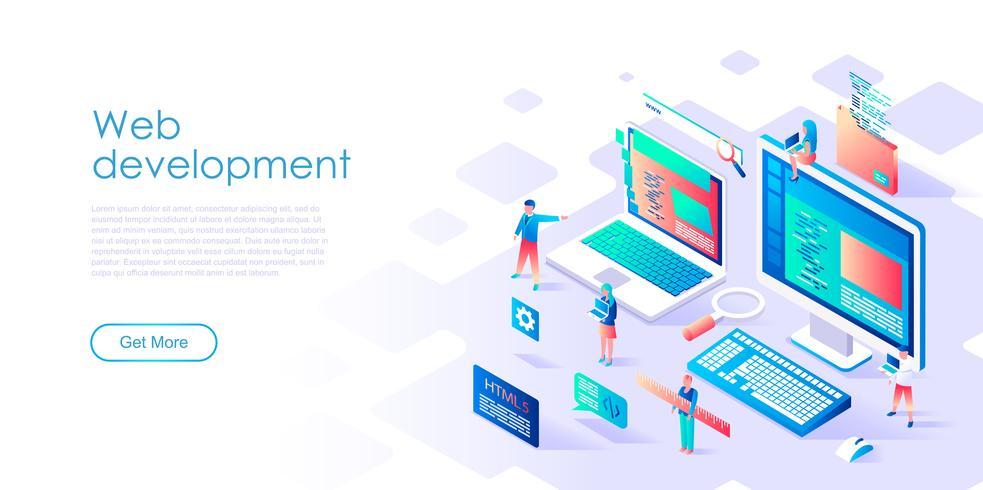 Concepto isométrico de desarrollo web para banner y sitio web vector