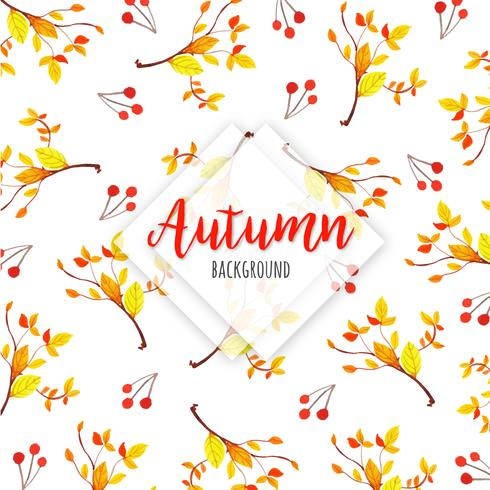 Orange and Yellow Leaves on Branch Beautiful Watercolor Autumn Leaves Background vector