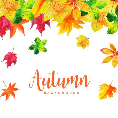 Orange and Green Leaves Beautiful Watercolor Autumn Background vector