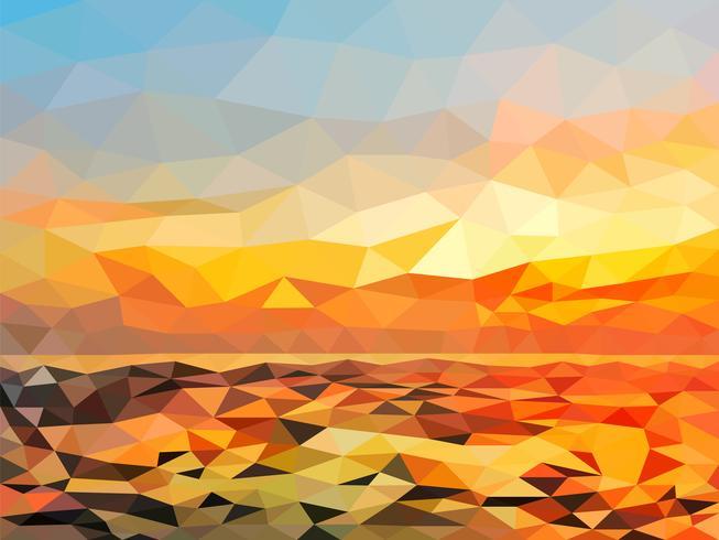 Plage du crépuscule orange sur la conception de polygone