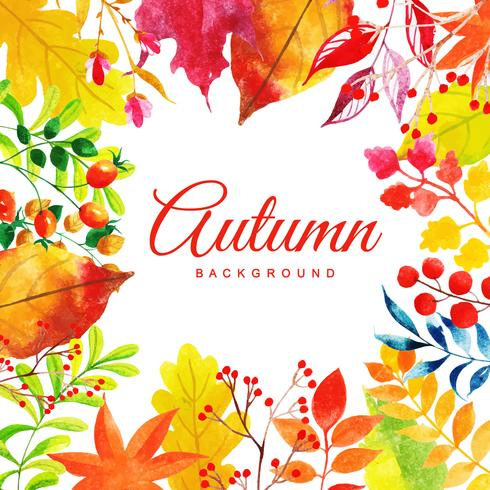 Fundo de folhas de outono aquarela linda multi-colorido