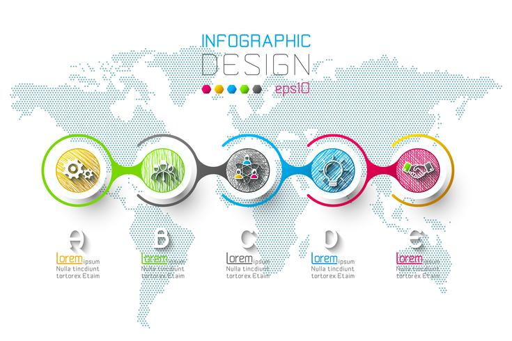 Business infographic with 5 steps vector