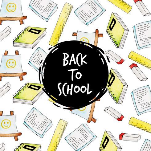 Anteckningsbok och linjal akvarell tillbaka till skolan mönster bakgrund