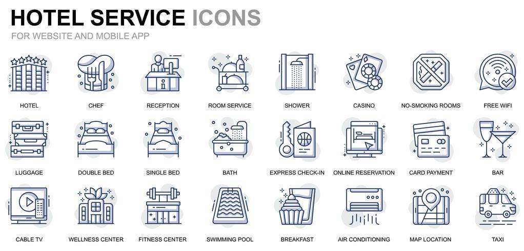 Hoteldienstleistungen Linie Icons