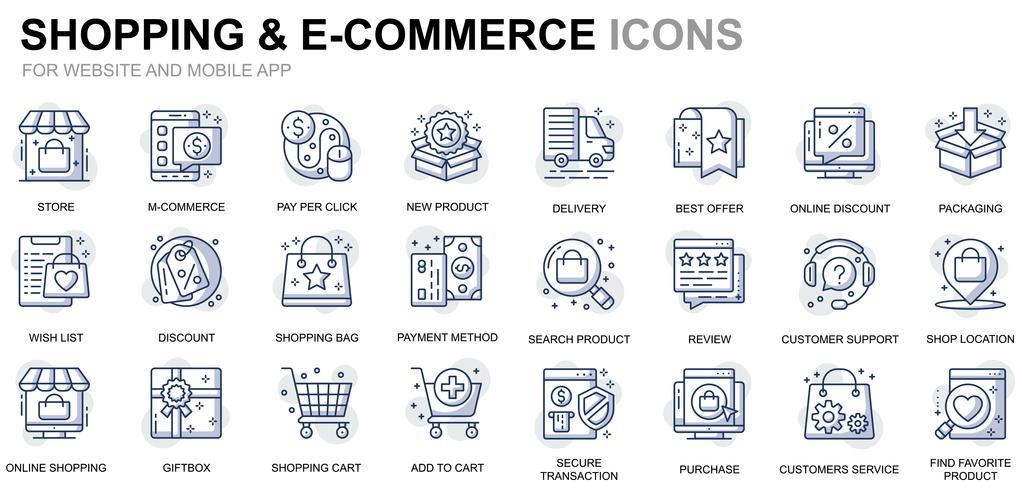 Winkelen en e-commerce lijn pictogrammen