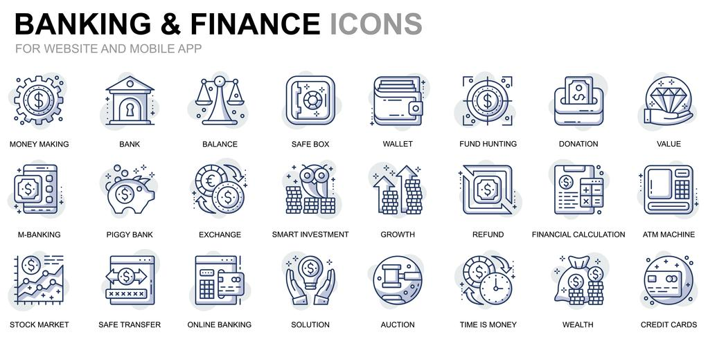 Icônes de lignes bancaires et financières