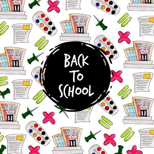 Pushpin och skolvattenfärg Tillbaka till skolmönsterbakgrund