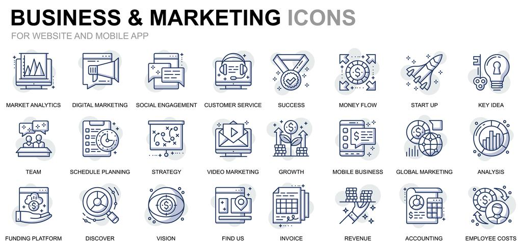 Business and Marketing Line Icons