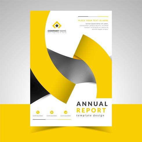 Annual Report Template with Creative Design Ribbon vector