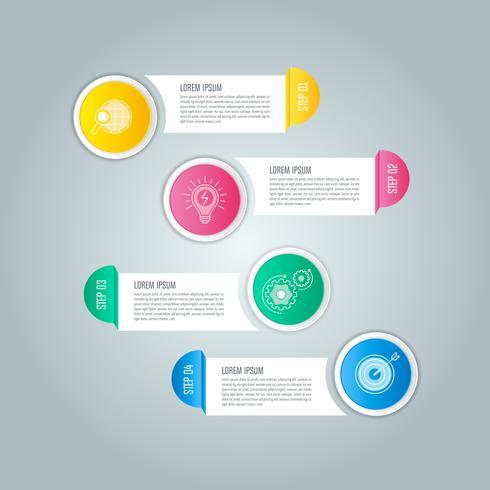 affärsidé för infographic design med fyra alternativ, delar eller processer.