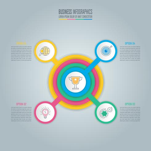 concetto di business design infografico con 4 opzioni, parti o processi.