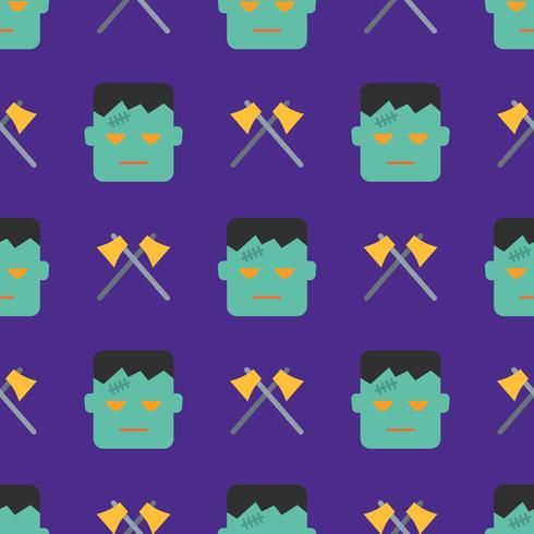 Halloween seamless pattern with monster and axes vector