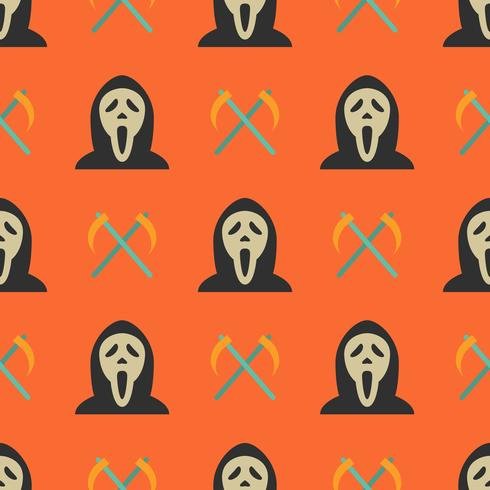 Halloween seamless pattern with ghost and sickles vector