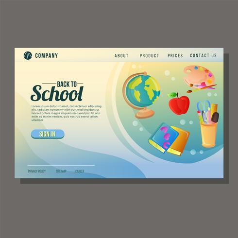 página de destino escolar com objetos da escola