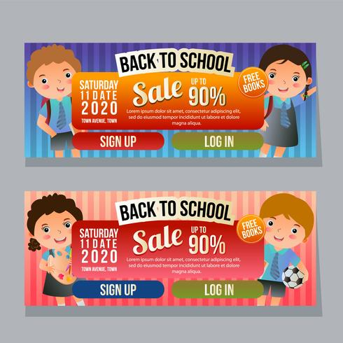 back to school sale horizontal banner with school kids vector