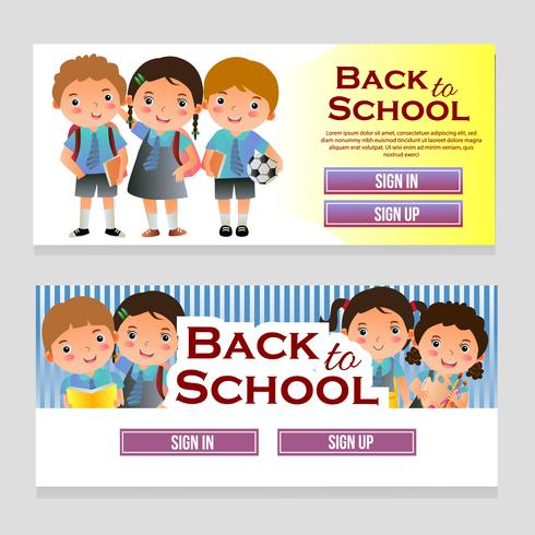 web banner with school theme and school kids vector