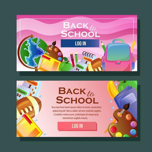 bannières d'école horizontale avec des objets de l'école