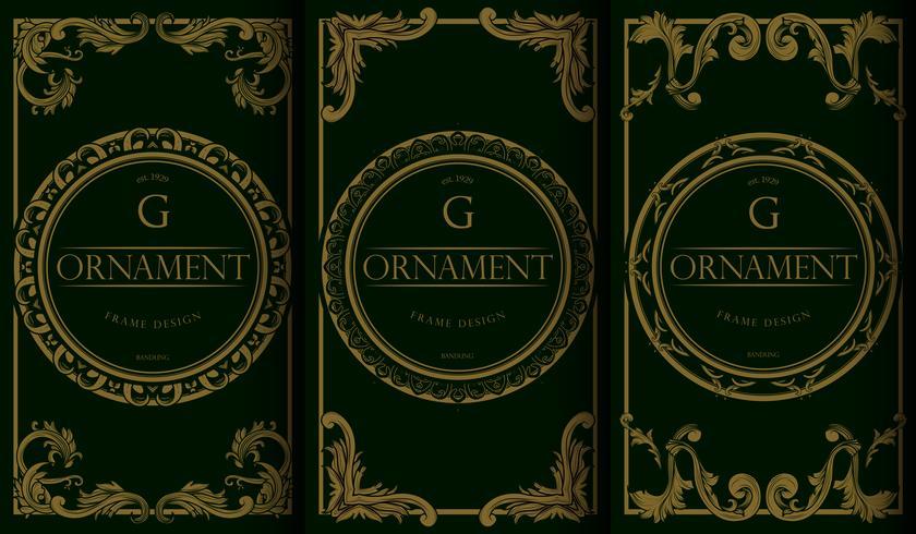 Set di modelli di pacchetto d'oro e verde di lusso