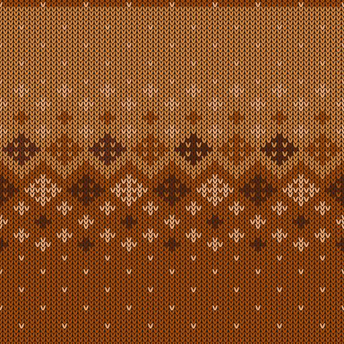 Geometric knitted pattern with repeating snowflakes vector