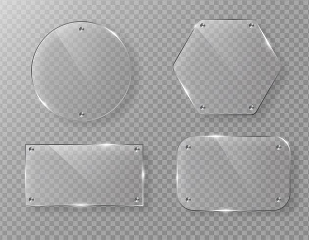 Blank vector glass frame label on transparent background.