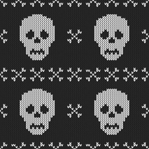Seamless Knitting Texture with skull and bone vector