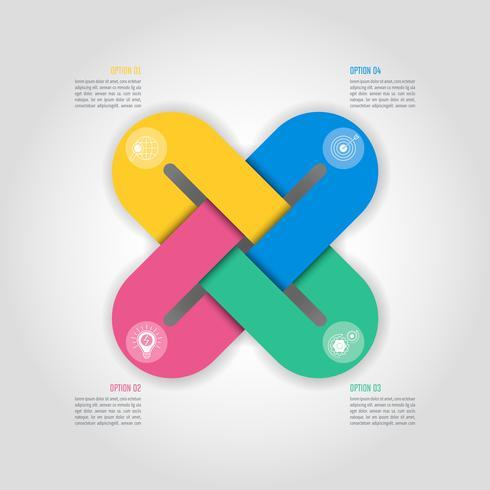 Concepto de negocio de diseño infográfico con 4 opciones, piezas o procesos. vector
