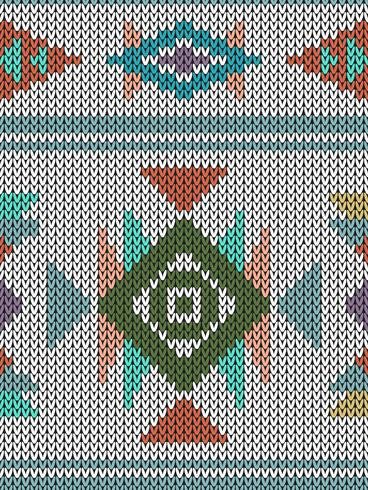 Geometric ethnic knitted pattern with triangles and diamonds