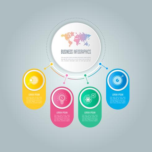 infographic design business concept with 4 options, parts or processes. vector