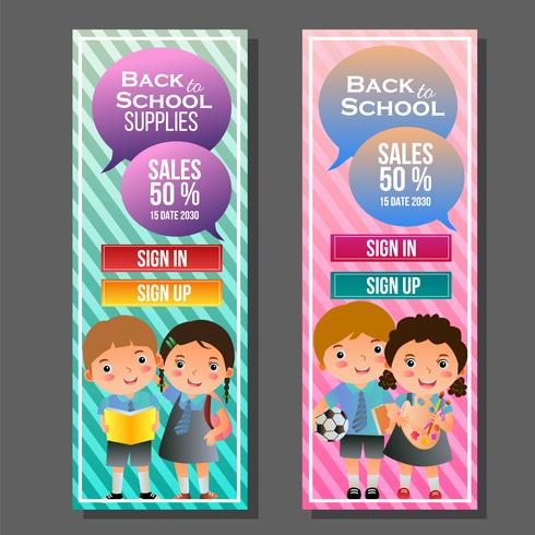 colorful back to school vertical banner with kids vector
