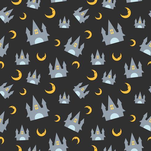 Padrão sem emenda de Halloween com castelo e lua