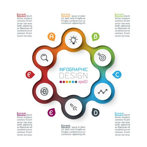 Six circles with business icon infographics vector