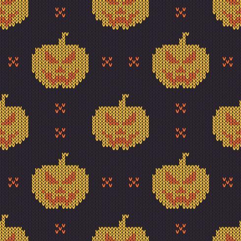 Textura de tricô sem costura com abóboras bonitos