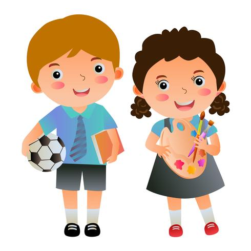 boy and girl students with school items vector