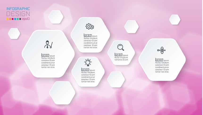 infografías con formas hexagonales